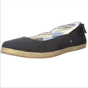 UGG Black Perrie Espadrille Flat With Bow Detail